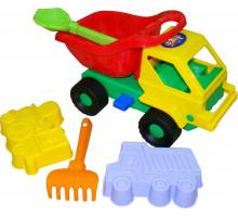 Детская игрушка автомобиль Кузя-2 + формочки (самосвал, паровоз), совок , грабельки №41 арт. 2785. Полесье