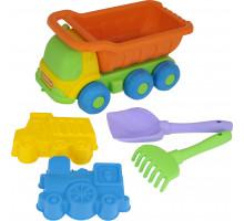 """Детская игрушка  """"Кеша"""", автомобиль-самосвал + лопатка №5, грабельки №5, кораблик """"Юнга"""" №269 арт. 4311. Полесье"""