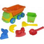 Детская игрушка автомобиль-самосвал + ведро-крепость малое, совок, грабельки , формочки арт. 4328. Полесье