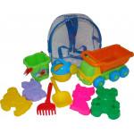 Детская игрушка  самосвал + ведро-цветок среднее, формочки  (в рюкзаке) арт. 4359. Полесье