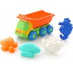 Детская игрушка автомобиль-самосвал + формочки (краб, черепаха, морской конёк, ракушка) арт. 57853. Полесье