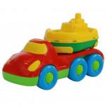 Детская игрушка автомобиль для перевозки кораблика + кораблик Буксир Дружок арт. 48370. Полесье