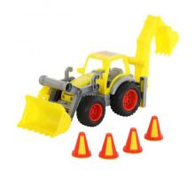 Детская игрушка  трактор-погрузчик с ковшом (в сеточке) КонсТрак арт. 0377. Полесье
