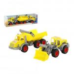 Детская игрушка  трёхосный автомобиль-самосвал + трактор-погрузчик (в коробке) КонсТрак арт. 38159. Полесье