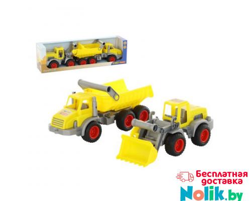 Детская игрушка  трёхосный автомобиль-самосвал + трактор-погрузчик (в коробке) КонсТрак арт. 38159. Полесье в Минске