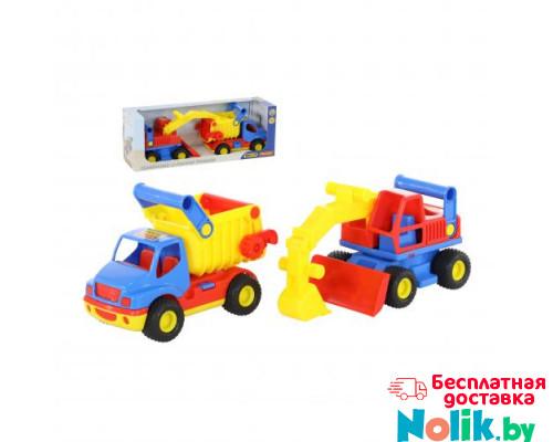 Детская игрушка автомобиль-самосвал +  экскаватор колёсный (в коробке) КонсТрак арт. 40855. Полесье в Минске