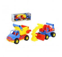 Детская игрушка автомобиль-самосвал +  экскаватор колёсный (в коробке) КонсТрак арт. 40855. Полесье