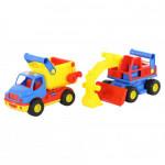 Детская игрушка автомобиль-самосвал +  экскаватор колёсный (в сеточке) КонсТрак арт. 0452. Полесье