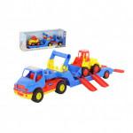 Детская игрушка автомобиль-трейлер +  погрузчик (в коробке) КонсТрак арт. 38807. Полесье