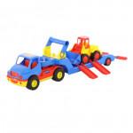 Детская игрушка автомобиль-трейлер +  погрузчик (в сеточке) КонсТрак арт. 8879. Полесье