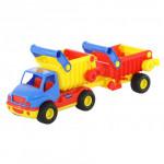 Детская игрушка автомобиль-самосвал с полуприцепом (в сеточке) КонсТрак арт. 0360. Полесье