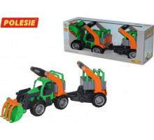 Детская игрушка  трактор-погрузчик с полуприцепом для животных (в коробке) ГрипТрак арт. 37398. Полесье