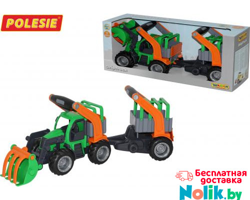 Детская игрушка  трактор-погрузчик с полуприцепом для животных (в коробке) ГрипТрак арт. 37398. Полесье в Минске