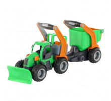 Детская игрушка  трактор снегоуборочный с полуприцепом (в сеточке) ГрипТрак арт. 48400. Полесье