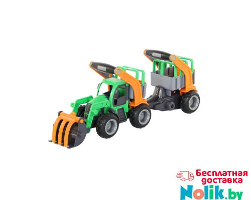 Детская игрушка  трактор-погрузчик с полуприцепом для животных (в сеточке) ГрипТрак арт. 48417. Полесье в Минске