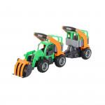Детская игрушка  трактор-погрузчик с полуприцепом для животных (в сеточке) ГрипТрак арт. 48417. Полесье