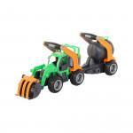 Детская игрушка  трактор-погрузчик с цистерной (в сеточке) ГрипТрак арт. 48424. Полесье