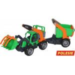 Детская игрушка  трактор-погрузчик с полуприцепом (в сеточке) ГрипТрак арт. 48431. Полесье