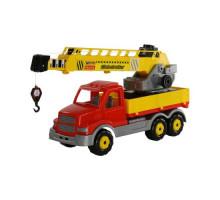Детская игрушка автомобиль-кран с поворотной платформой (в сеточке) Сталкер арт. 56511. Полесье
