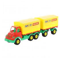 Детская игрушка автомобиль бортовой тентовый с прицепом Муромец арт. 44075. Полесье