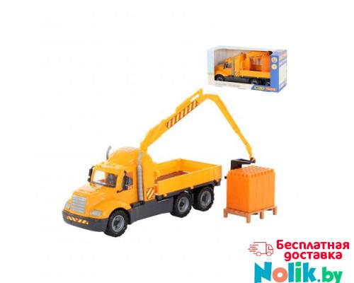 Детская игрушка автомобиль-кран с манипулятором + конструктор Супер-Микс - 30 элементов на поддоне Майк арт. 55590. Полесье в Минске
