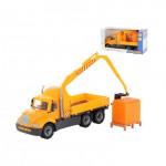 Детская игрушка автомобиль-кран с манипулятором + конструктор Супер-Микс - 30 элементов на поддоне Майк арт. 55590. Полесье