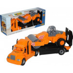 Детская игрушка автомобиль-трейлер + дорожный каток (в коробке) Майк арт. 55712. Полесье