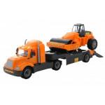 Детская игрушка автомобиль-трейлер + дорожный каток (в сеточке) Майк арт. 55729. Полесье