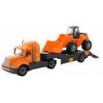 Детская игрушка автомобиль-трейлер + трактор-погрузчик (в сеточке) Майк арт. 55743. Полесье