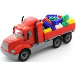 Детская игрушка автомобиль бортовой + конструктор Супер-Микс - 60 элементов (в сеточке) Майк арт. 55514. Полесье