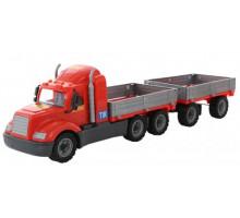 Детская игрушка автомобиль бортовой с прицепом (в сеточке) Майк арт. 55545. Полесье