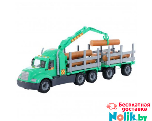 Детская игрушка автомобиль-лесовоз с прицепом (в сеточке) Майк арт. 55675. Полесье в Минске