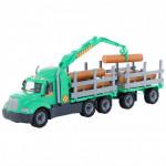 Детская игрушка автомобиль-лесовоз с прицепом (в сеточке) Майк арт. 55675. Полесье
