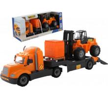 Машинка Полесье трейлер + автокар + конструктор Супер-Микс - 30 элементов на поддоне (в коробке Майк арт. 55699. Полесье