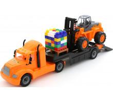 Детская игрушка автомобиль-трейлер + автокар + конструктор Супер-Микс - 30 элементов на поддоне (в сеточке Майк арт. 55705. Полесье