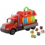 Детская игрушка автомобиль бортовой + домик для зверей (в сеточке) Майк арт. 55521. Полесье