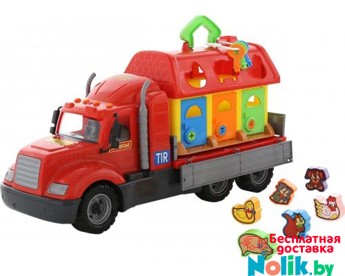 Детская игрушка автомобиль бортовой + домик для зверей (в сеточке) Майк арт. 55521. Полесье в Минске