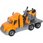 Детская игрушка автомобиль-платформа + мотоцикл гоночный Байк (в сеточке) Майк арт. 55682. Полесье