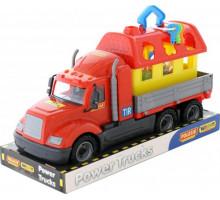 Детская игрушка автомобиль бортовой + домик для зверей (в лотке) Майк арт. 58461. Полесье