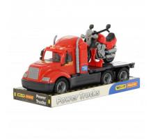 Детская игрушка автомобиль-платформа + мотоцикл гоночный Байк (в лотке) Майк арт. 58546. Полесье
