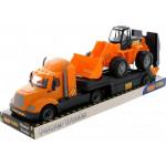 Детская игрушка автомобиль-трейлер + трактор-погрузчик (в лотке) Майк арт. 58591. Полесье