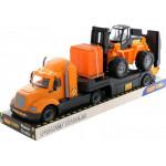 Детская игрушка автомобиль-трейлер + автокар + конструктор Супер-Микс - 30 элементов на поддоне (в лотке) Майк арт. 58577. Полесье