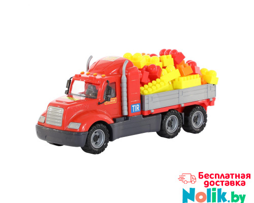 Детская игрушка автомобиль бортовой + конструктор Супер-Микс - 60 элементов (в лотке) Майк арт. 58454. Полесье в Минске