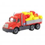 Детская игрушка автомобиль бортовой + конструктор Супер-Микс - 60 элементов (в лотке) Майк арт. 58454. Полесье