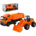 Детский автомобиль-самосвал с полуприцепом + трактор-погрузчик (в коробке) Volvo арт. 0384. Полесье