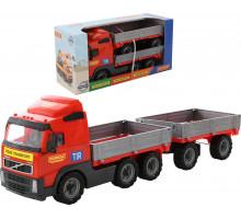 Детская игрушка автомобиль бортовой с прицепом (в коробке) Volvo арт. 9722. Полесье