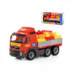 Детская игрушка автомобиль бортовой + конструктор Супер-Микс - 60 элементов (в коробке) Volvo арт. 9739. Полесье