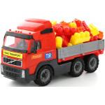 Детская игрушка автомобиль бортовой + конструктор Супер-Микс - 60 элементов (в сеточке) Volvo арт. 9456. Полесье