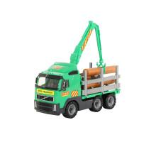 Детская игрушка автомобиль-лесовоз (в сеточке) Volvo арт. 8756. Полесье