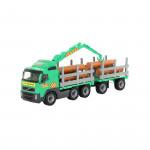 Детская игрушка автомобиль-лесовоз с прицепом (в сеточке) Volvo арт. 8725. Полесье